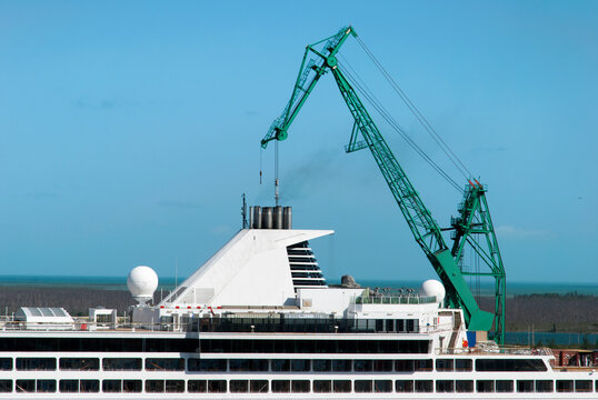 Grand Bahama Island Port Crane Over Cruise Ship Chimney