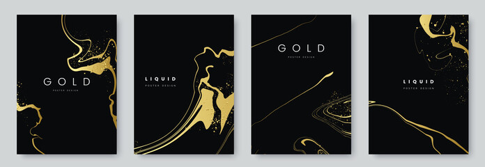 Obraz Abstract minimalist poster collection with golden smooth thin ink lines on black background. luxury banner design. A4 size. Ideal for flyer, packaging, invitation, cover, business card. Vector eps 10 - fototapety do salonu
