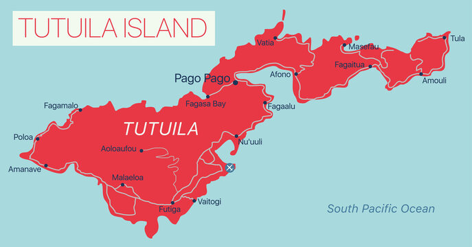 Tutuila Islands detailed editable map with cities and towns, geographic sites. Vector EPS-10 file