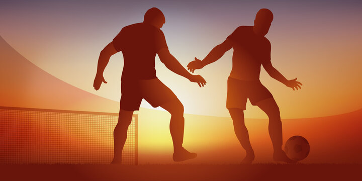 Action de jeu lors d'un match de football avec un attaquant qui dribble un défenseur aller marquer un but et ouvrir le score d'un match de championnat.
