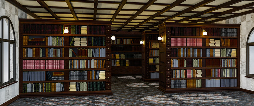 Library interior inside with large cabinets and shelves with books. 3d rendering
