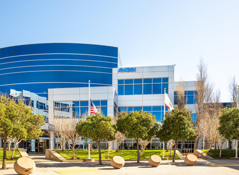 South San Francisco, CA, USA - February 24, 2021: Close up of Amgen corporate office, an biopharmaceutical company headquartered in Thousand Oaks, California.