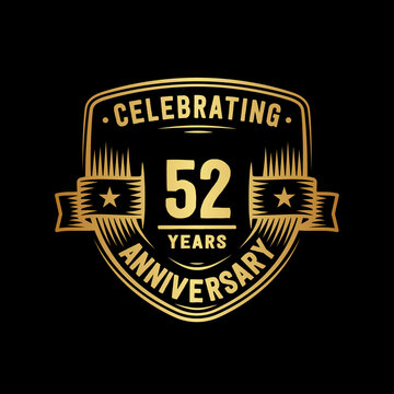 52 years anniversary celebration shield design template. Vector and illustration
