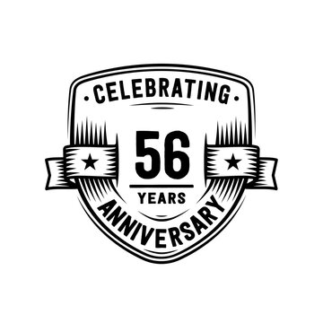 56 years anniversary celebration shield design template. Vector and illustration