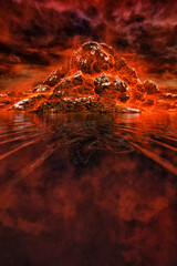 3d illustration, volcanic mountain on the shore of the lake, against the background of a scary sky in red color
