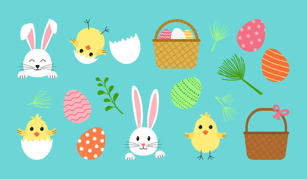 Easter vector set, cute spring icon. Cartoon bunny, egg, rabbit, basket, chick with shell. Holiday illustration