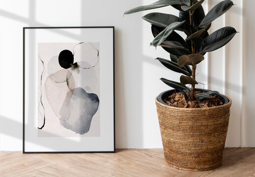 Picture Frame Mockup Decorating on Wooden Floor