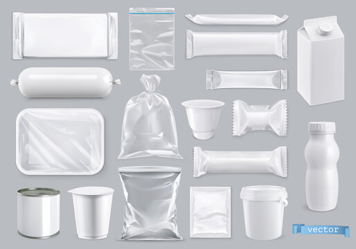 Polyethylene and polystyrene packaging for food, 3d realistic vector set mockup