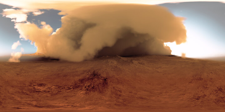 360 degree panorama of the massive dust storm sweeping across surface of Mars. Martian Landscape, environment HDRI map. Equirectangular projection, spherical panorama