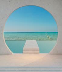 Fototapeta Corridor connecting the swimming pool and sea view,3d rendering obraz