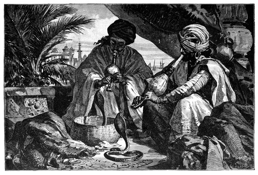 Snake charmers, madras, Chennai, India. Culture and history of Asia. Vintage antique black and white illustration. 19th century.