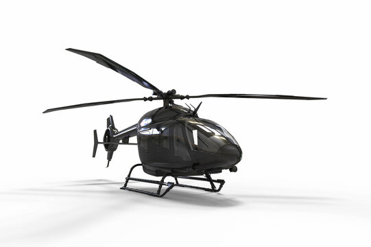 3D render image representing a helicopter on white background