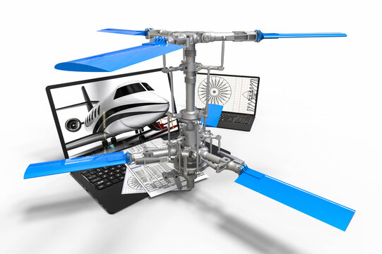 3D render image representing a helicopter design with the help of CAD