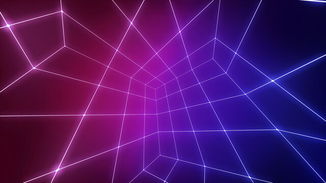 Neon glow net grid. A modern abstract backdrop for retro technology compositions