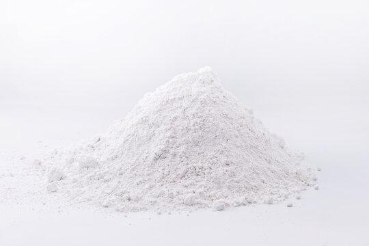 Zinc iodide or Zn2 iodide, white powder. Chemical compound of zinc and iodine on pure white background