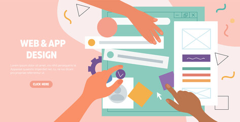 Obraz Hands working on the layout of a web page and app design for a digital device viewed from above, flat cartoon colored vector illustration - fototapety do salonu