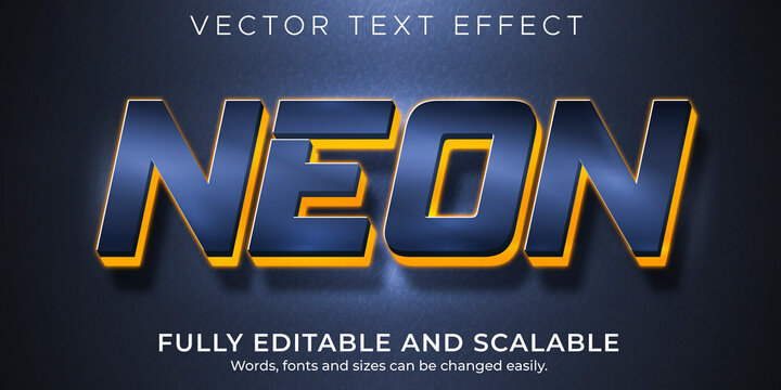 Neon light text effect, editable led and glowing text style