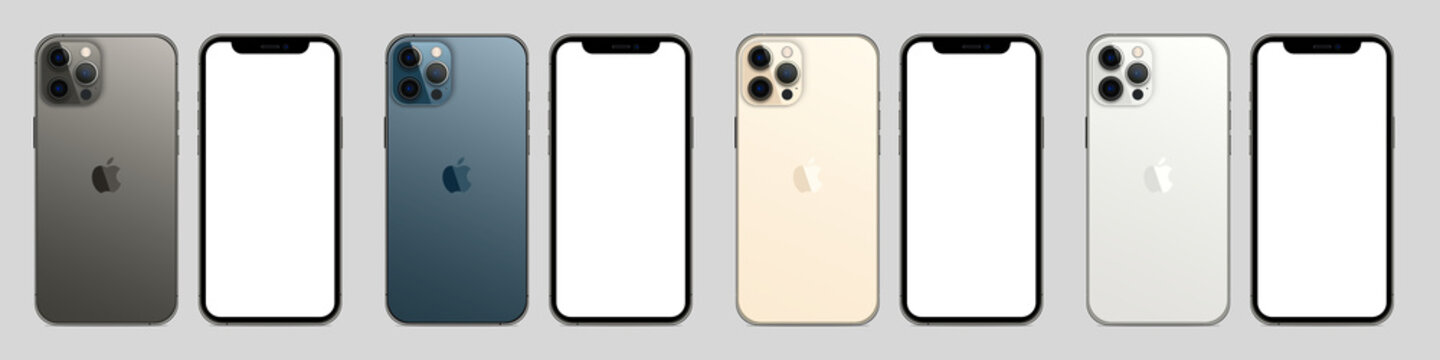 Magelang, Indonesia - 03 03 2021: New iPhone 12 pro / pro max four color. Mock-up screen iphone and back side iphone. White screen and trasparent screen. Vector illustration