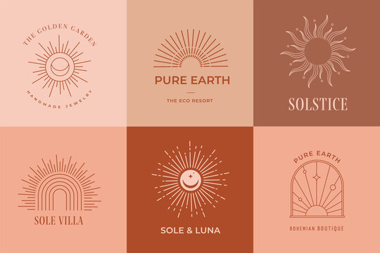 Bohemian linear logos, icons and symbols, sun design templates, terracotta geometric abstract design elements for decoration.
