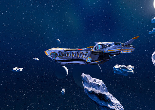 super alien spaceship on the asteroid field side view