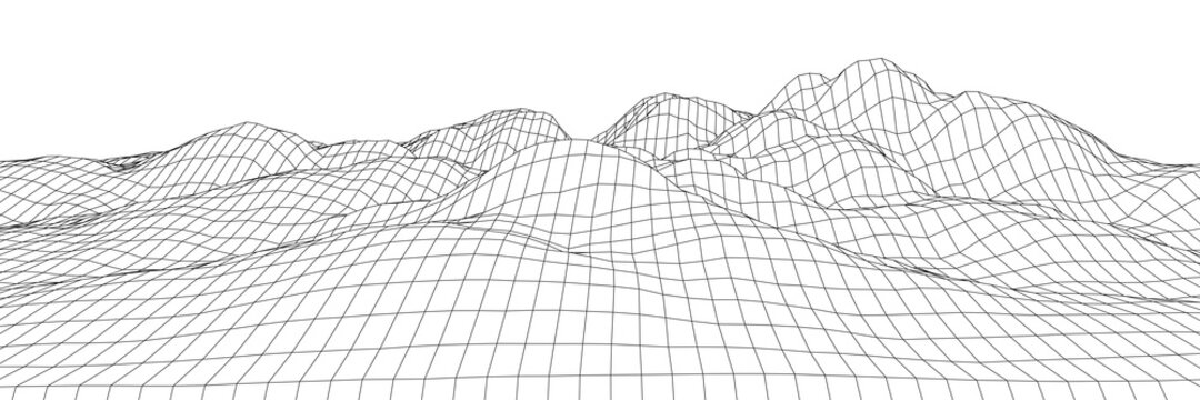 Wireframe 3D landscape mountains. Wireframe landscape wire. 3d landscape. Digital retro landscape cyber surface. Vector illustration.