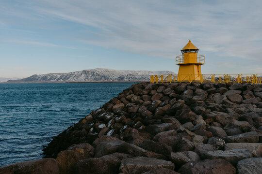 Yellow lighthouse in Reykjavík, Iceland