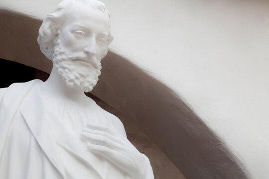 USA, California, San Diego. Statue on grounds of historic Mission San Diego de Alcala.