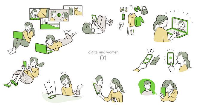 スマホ・PC・デジタルを楽しむ女性1