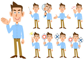 Fototapeta 水色のシャツを着た男性の全身 9種類の仕草と表情  obraz