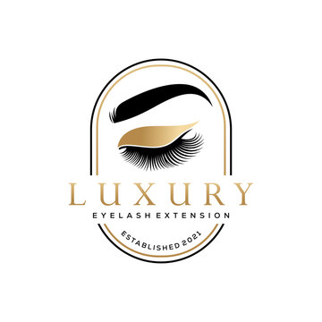 Luxury Beauty Eye Lashes Logo Vector Template