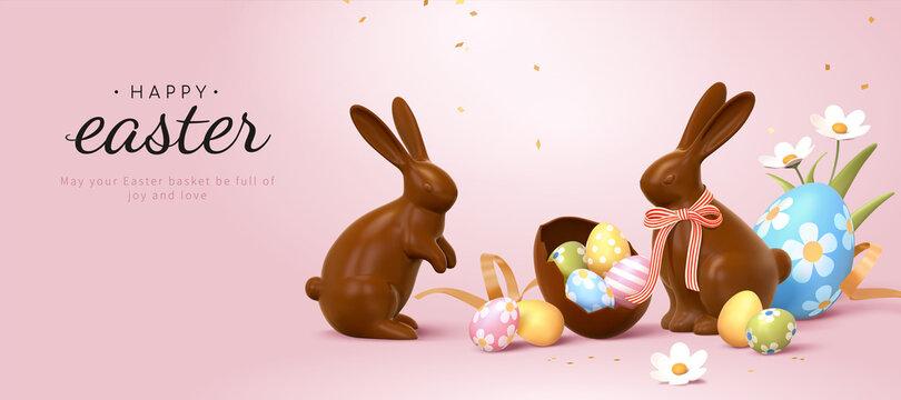 Elegant 3d Easter banner