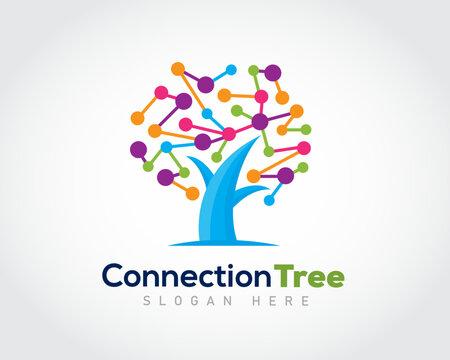 tree dot connection smart brain logo symbol design illustration inspiration