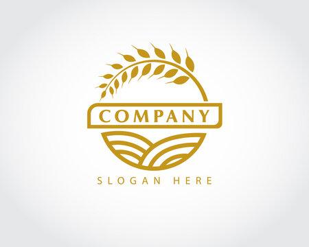 circle wheat agriculture logo symbol design illustration inspiration