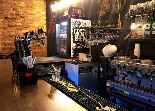 Interior of modern beer restaurant in loft style