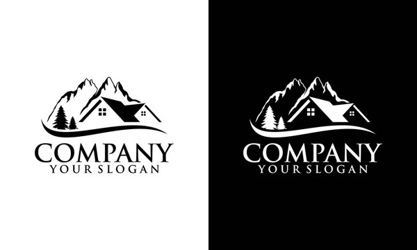 House in the mountains vector logo. Sign of a real estate hotel cottage. Property agents, building, insurance, purchasing, investment, construction, cleaning. Winter vacation and symbol of a ski resor