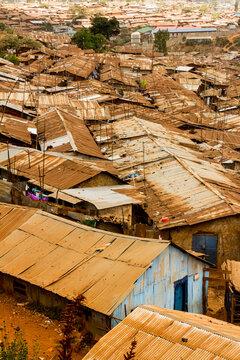 Kibera slums homes into the horizon