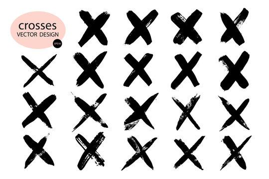 X black label.Cross graphic symbol of the sign.Crossed brush strokes.