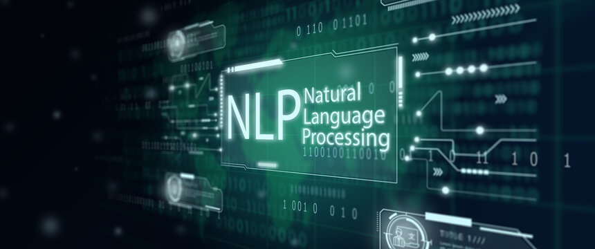 Illustration of Virtual screen with world map background. NLP Natural Language Processing cognitive computing technology concept.