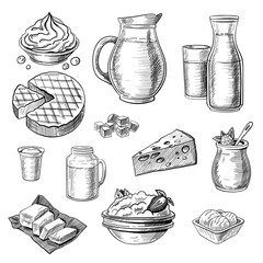 Dairy products sketches set. Hand drawn jug of milk, yogurt, cottage cheese, ice cream, butter. Engraved vector illustration for food production, organic nutrition, protein, calcium concept