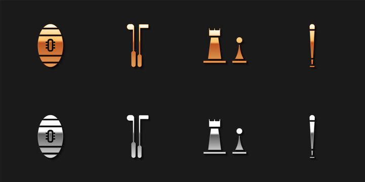 Set American Football ball, Golf club, Chess and Baseball bat icon. Vector.