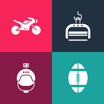 Set pop art Rugby ball, Helmet and action camera, Ski lift and Motorcycle icon. Vector.