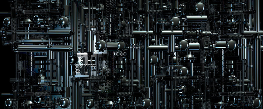 Looking down onto industrial machinery made from pipes and gears in a science fiction style 3d render