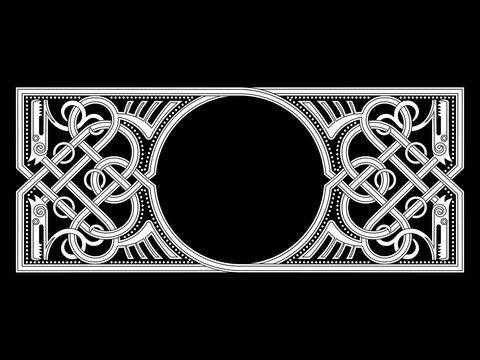 Celtic-Scandinavian design. Old Norse pattern, frame. Woven pattern of stylized dragons