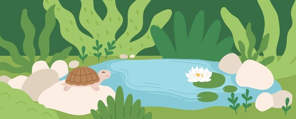 Scene with cute turtle sitting on stone near pond with water lily. Panoramic view of rainforest with smiling tortoise on rock in summer. Colored flat vector illustration