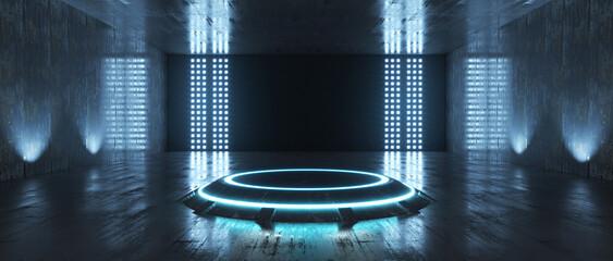 Obraz Futuristic Sci Fi Empty Stage neon. 3d rendering - fototapety do salonu