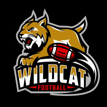 wildcat football team design with mascot bobcat, lynx. Great for team or school mascot or t-shirts and others.