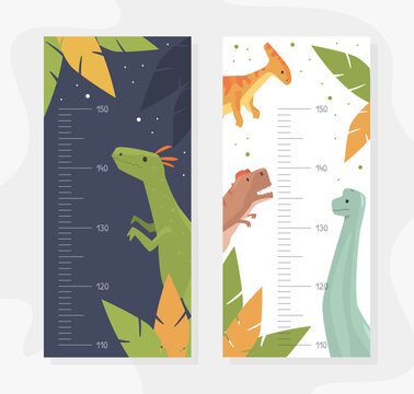 Set of Kids Height Chart with Funny Dinosaurs Animals, Childish Meter Wall for Nursery Design Cartoon Vector Illustration