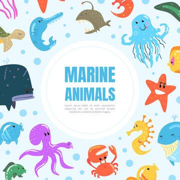 Marine Animals Banner, Underwater World Poster, Card, Flyer Design Template with Octopus, Whale, Jellyfish Cartoon Vector Illustration