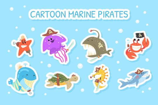 Cartoon Marine Pirate Stickers, Funny Marine Creature Characters Colorful Patches Vector Illustration