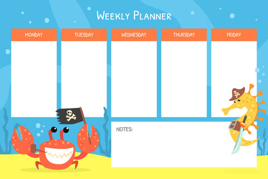 Weekly Planner with Funny Marine Animals, Stationery Organizer for Daily Plans Cartoon Vector Illustration